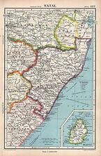 1952 MAP ~ AFRICA NATAL ~ ORANGE FREE STATE SWAZI LAND TRANSVAAL