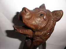 Great Antique Black Forest Wood wooden Carving Bear Nutcracker Glass Eyes