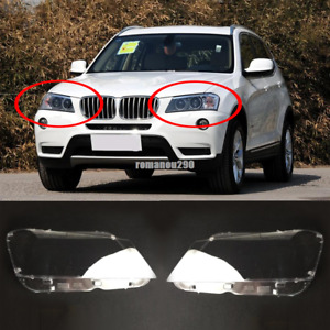 For BMW F25 X3 2011-2014 PC Headlight Front Headlamp Lens Left right Cover 2pcs