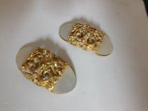 Beautiful MUSI Gold Tone Shoe Clips Mother of Pearl Aurora Borealis Rhinestones