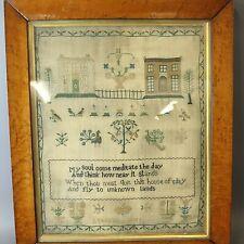 More details for antique embroidery needlepoint sampler by rebekah birrs - framed - ydn