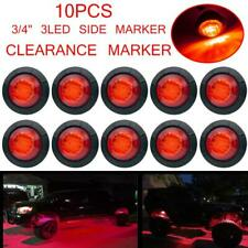 "10x 3/4"" Round Red 3 LED Clearance Side Marker Light Bullet Truck Trailer RV Van"