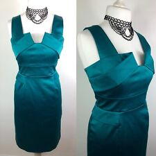 PHASE EIGHT Emerald Green Satin Cocktail Pencil Dress Size 14 Wiggle Party