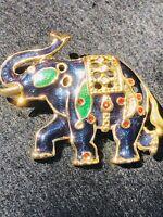 Red Clear Rhinestone Blue Green Enamel Goldtone Elephant 🐘 Vintage Brooch Pin