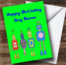 Green Robot Personalised Birthday Greetings Card