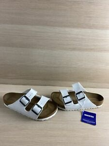NWB Birkenstock Arizona BS White Birko-Flor Buckle Slide Sandals Womens Size 38M