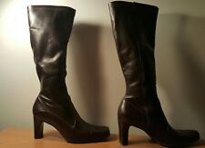 Women's Franco Sarto Heel Knee-High Boots (Brown leather, size 7 1/2 )