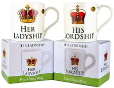 Set of 2 His Lordship & Her Ladyship Fine China Mugs in Individual Gift Boxes