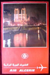 Original Poster Algeria Air Algerie Notre Dame Paris France Cathedral  Seine