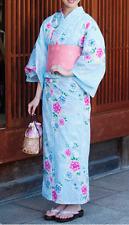 Japanese Women's Traditional YUKATA KIMONO Obi Sandal Set JAPAN 14 Blue D-d