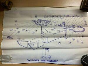 VINTAGE FIG.5 TECHICAL DIAGRAM OF BR PANTOGRAPH LOWER ARM ASSEMBLY 42cm x 59cm
