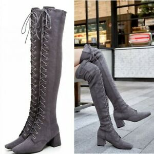 Women's Suede Lace Up Square Toe Over The Knee Thigh High Combat Low Heel Boots