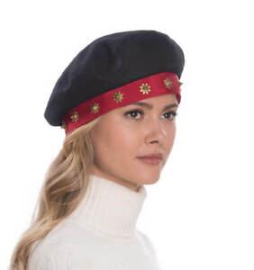 Authentic NWT Eric Javits Designer NYC Women's Beret - Saxon in Black/Red