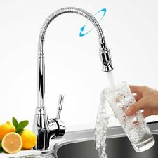 Kitchen Sink Mixer Tap Spout Hot Cold Water Faucet Chrome Goose Neck Flexible UK