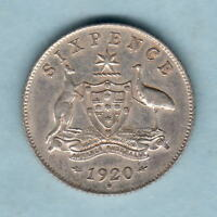 Australia.  1920 Sixpence..    gVF - Much Lustre