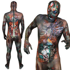ADULT ZOMBIE SKINSUIT GORY HALLOWEEN FANCY DRESS COSTUME MENS SCARY OUTFIT