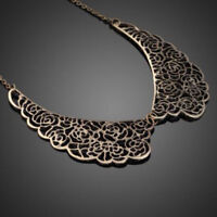 Gift Chic Hollow Carved Bib Vintage Metal Choker Collar Necklace Pendant