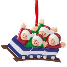 Family Roller Coaster Ornament, Family of 4