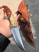 JAPANESE DAMASCUS VG10 HUNTING CAMPING KNIFE FIXED BLADE HANDCRAFTED KNIFE TOTEM