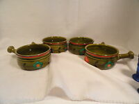 Georges Briard Avocado Flowered Handled Soup Bowls Set of 4 Mid Century Mod