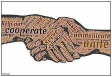 """13""""×19"""" Inspirational Poster: TOGETHERNESS Cooperation Classroom Art School WORK"""