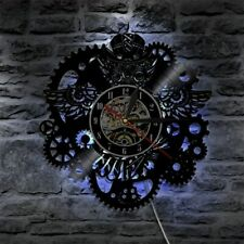 Vinyl Wall Clock Modern 3D Decorative Steampunk LED Change Gear Watch Decor