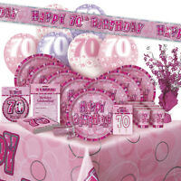 AGE 70/70TH BIRTHDAY PINK GLITZ PARTY RANGE (Balloon/Decoration/Banner/Napkins)