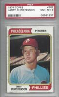 1974 Topps baseball card #587 Larry Christenson, Philadelphia Phillies PSA 8