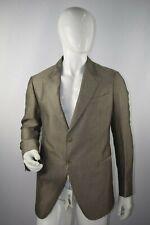 NWT $1,086 Armani Collezioni Men's Tan Gray 2 Button Suit Jacket Size 58 EUR
