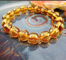 10mm Tibetan Yellow Synthetic crystal Bead om mani padme hum Amulet Bracelet