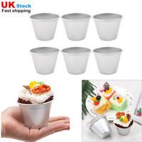 UK_6Pcs Nonstick Pudding Cups Pans Molds Dessert Tumblers DIY Baking Aluminum