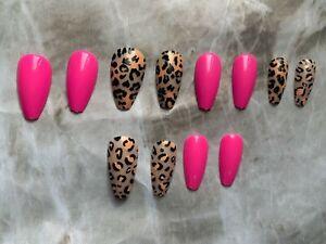Glossy hot pink nails, medium long coffin nails, press on nails, leopard print,