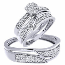 His And Her Diamond Trio Engagement Bridal Ring Sets 14K White Gold Over 2.40 Ct