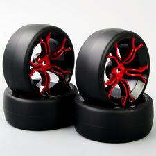 4X Tires & Wheels For 1/10 HSP HPI RC Speed Drift Racing Car Hard Plastic Slick