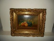 Antique oil painting,{ Still life with fruit, signed M.G. 1910, great frame! }.