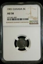 1901 Canada. 5 cents. NGC Graded AU-58