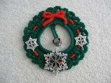 Green Crochet Wreath Silver Snowflakes Red Bow Jingle Bell in Middle Magnet