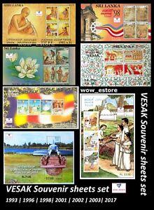 VESAK Souvenir sheet set (7 very beautiful sheets) -Sri Lanka stamp - Ceylon