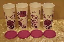 New Set of 4 Purple Flowers Tupperware Beautiful 16oz Tumblers with lids