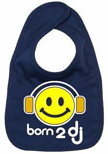 "DJ Baby Bib ""Born to dj"" Boy Girl Feeding Music Cool baby Clothes"