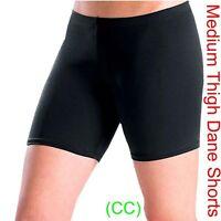 BLACK DANCE SHORTS Lycra Spandex Gym ballet salsa yoga (medium thigh) (CC)