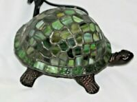 Vintage Tiffany Style Stained Glass Turtle Accent Lamp purple Shell Night Light
