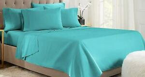 New Persian Teal Flat Sheet 1800 Collection Wrinkle Free Soft Solid Top Sheet