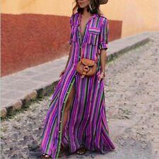 Women Sling Striped Boho Maxi Dress Summer Long Beach Sundress Party Dresses