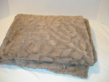 Dennis  Basso Faux Fur Crocodile Sheared Throw  Taupe color