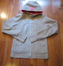 LULULEMON scuba hoodie in khaki with stretch side panels thumbholes size 10 l/s