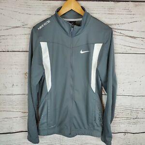 Nike Elite Mens Track Jacket Small Gray White Full Zip Athletic Dri Fit Casual