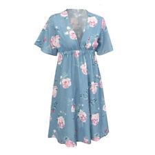 Women Pregnancy Summer Floral Short Sleeve Dress Maternity Party Beach Sundress