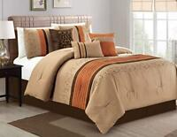 DCP 7Pcs Oversize Embroidery Bed in Bag Microfiber Comforter Set Cal King Coffee