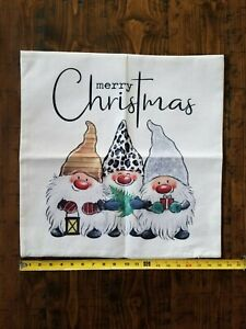 Christmas Gnomes Pillow Cover - 20X20 New 100% Polyester Hidden Zipper
